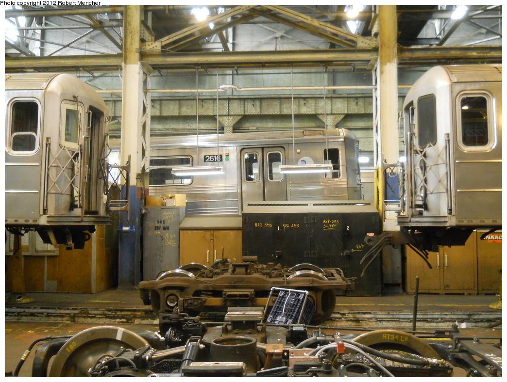 (440k, 1044x788)<br><b>Country:</b> United States<br><b>City:</b> New York<br><b>System:</b> New York City Transit<br><b>Location:</b> 207th Street Shop<br><b>Car:</b> R-68 (Westinghouse-Amrail, 1986-1988)  2616 <br><b>Photo by:</b> Robert Mencher<br><b>Date:</b> 3/27/2011<br><b>Viewed (this week/total):</b> 0 / 850