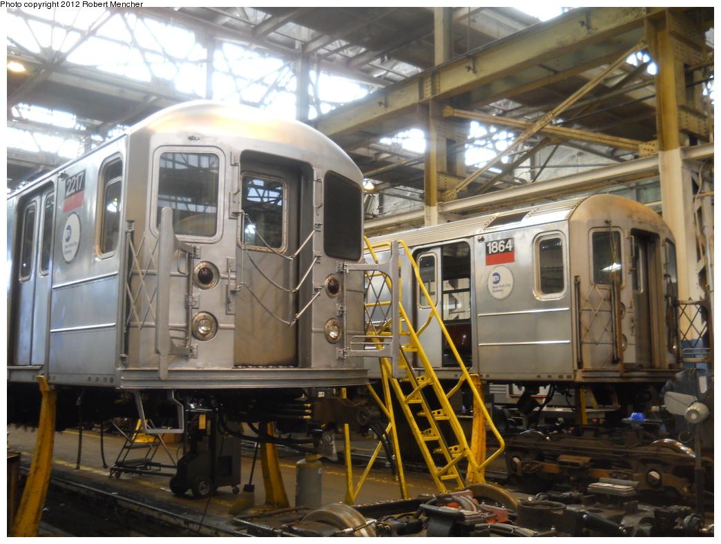 (388k, 1044x788)<br><b>Country:</b> United States<br><b>City:</b> New York<br><b>System:</b> New York City Transit<br><b>Location:</b> 207th Street Shop<br><b>Car:</b> R-62A (Bombardier, 1984-1987)  2217/1864 <br><b>Photo by:</b> Robert Mencher<br><b>Date:</b> 3/27/2011<br><b>Viewed (this week/total):</b> 0 / 411
