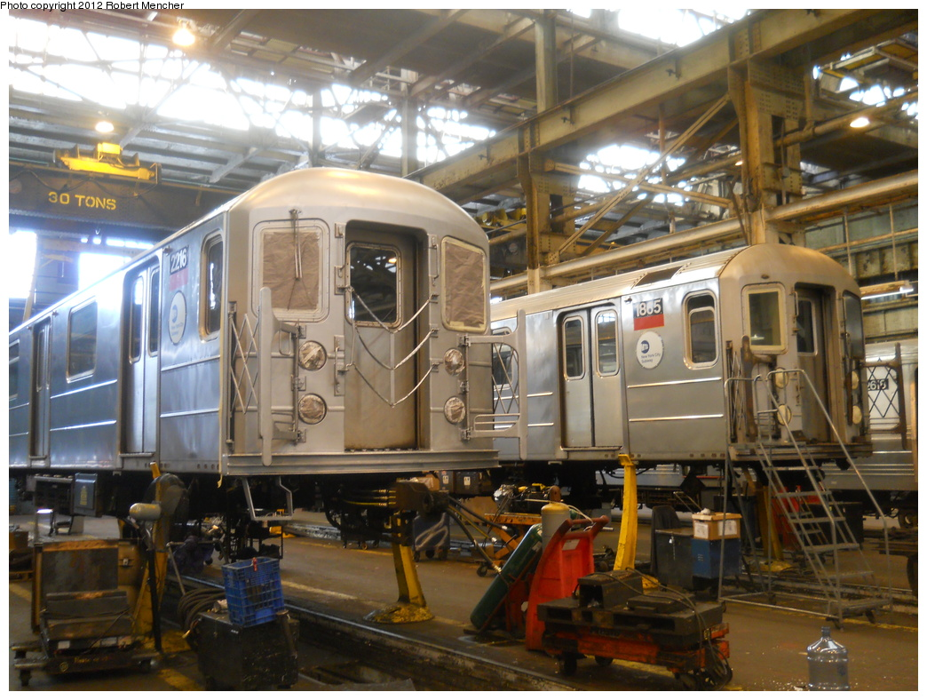 (403k, 1044x788)<br><b>Country:</b> United States<br><b>City:</b> New York<br><b>System:</b> New York City Transit<br><b>Location:</b> 207th Street Shop<br><b>Car:</b> R-62A (Bombardier, 1984-1987)  2216/1865 <br><b>Photo by:</b> Robert Mencher<br><b>Date:</b> 3/27/2011<br><b>Viewed (this week/total):</b> 0 / 590