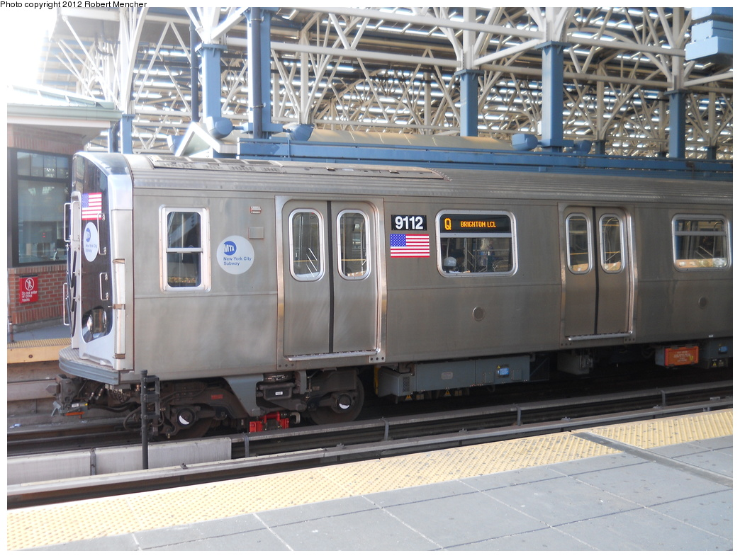 (385k, 1044x788)<br><b>Country:</b> United States<br><b>City:</b> New York<br><b>System:</b> New York City Transit<br><b>Location:</b> Coney Island/Stillwell Avenue<br><b>Route:</b> Q<br><b>Car:</b> R-160B (Option 1) (Kawasaki, 2008-2009)  9112 <br><b>Photo by:</b> Robert Mencher<br><b>Date:</b> 5/13/2011<br><b>Viewed (this week/total):</b> 1 / 909