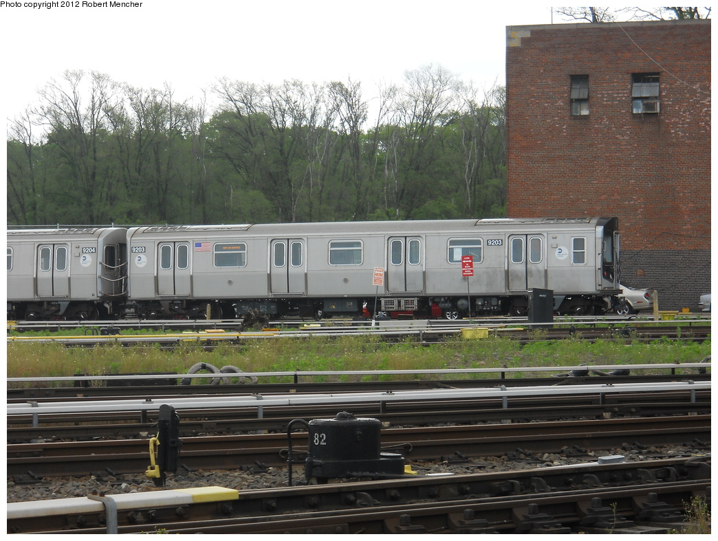 (402k, 1044x788)<br><b>Country:</b> United States<br><b>City:</b> New York<br><b>System:</b> New York City Transit<br><b>Location:</b> Jamaica Yard/Shops<br><b>Car:</b> R-160B (Option 1) (Kawasaki, 2008-2009)  9203 <br><b>Photo by:</b> Robert Mencher<br><b>Date:</b> 5/19/2011<br><b>Viewed (this week/total):</b> 0 / 587