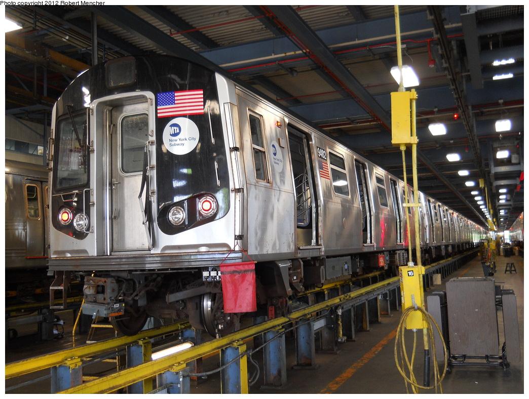 (425k, 1044x788)<br><b>Country:</b> United States<br><b>City:</b> New York<br><b>System:</b> New York City Transit<br><b>Location:</b> Jamaica Yard/Shops<br><b>Car:</b> R-160A (Option 1) (Alstom, 2008-2009, 5 car sets)  9482 <br><b>Photo by:</b> Robert Mencher<br><b>Date:</b> 5/19/2011<br><b>Viewed (this week/total):</b> 3 / 877