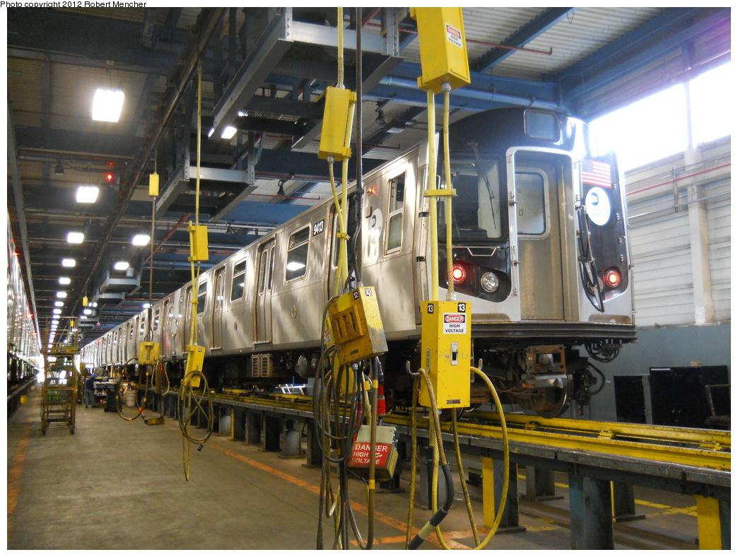 (408k, 1044x788)<br><b>Country:</b> United States<br><b>City:</b> New York<br><b>System:</b> New York City Transit<br><b>Location:</b> Jamaica Yard/Shops<br><b>Car:</b> R-160A (Option 1) (Alstom, 2008-2009, 5 car sets)  9413 <br><b>Photo by:</b> Robert Mencher<br><b>Date:</b> 5/19/2011<br><b>Viewed (this week/total):</b> 0 / 854