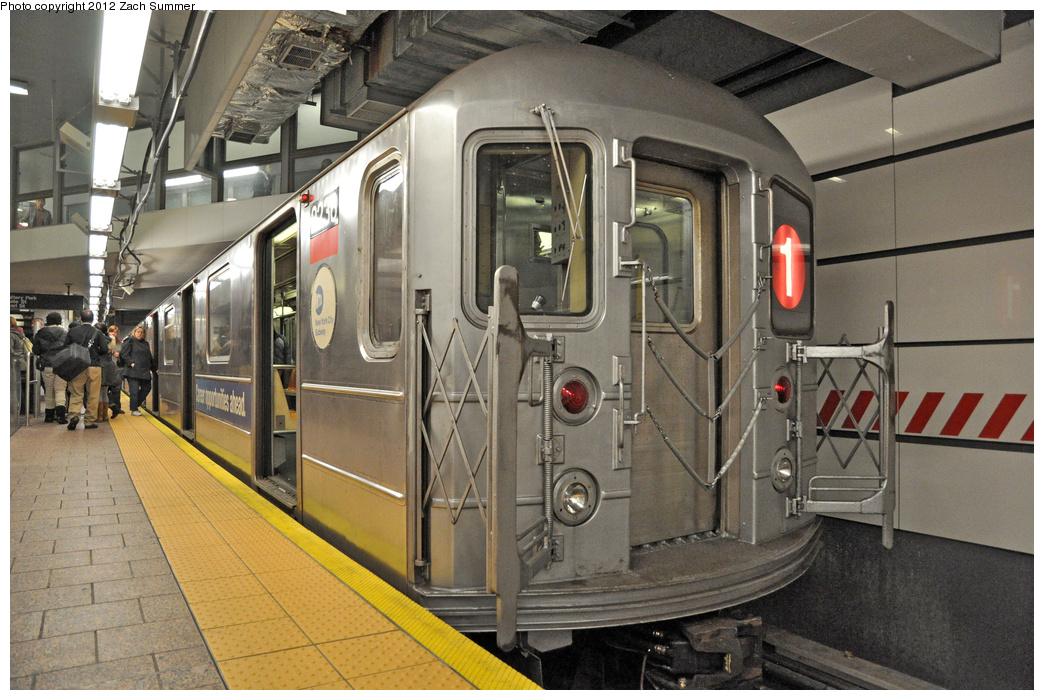 (394k, 1044x700)<br><b>Country:</b> United States<br><b>City:</b> New York<br><b>System:</b> New York City Transit<br><b>Line:</b> IRT West Side Line<br><b>Location:</b> South Ferry (New Station)<br><b>Route:</b> 1<br><b>Car:</b> R-62A (Bombardier, 1984-1987) 2236 <br><b>Photo by:</b> Zach Summer<br><b>Date:</b> 11/24/2011<br><b>Viewed (this week/total):</b> 3 / 1586