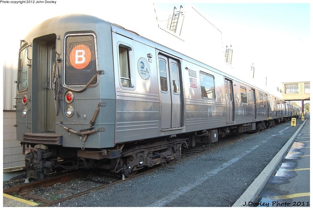 (345k, 1044x701)<br><b>Country:</b> United States<br><b>City:</b> New York<br><b>System:</b> New York City Transit<br><b>Location:</b> Coney Island Yard<br><b>Car:</b> R-68A (Kawasaki, 1988-1989)  5122 <br><b>Photo by:</b> John Dooley<br><b>Date:</b> 10/15/2011<br><b>Viewed (this week/total):</b> 3 / 625