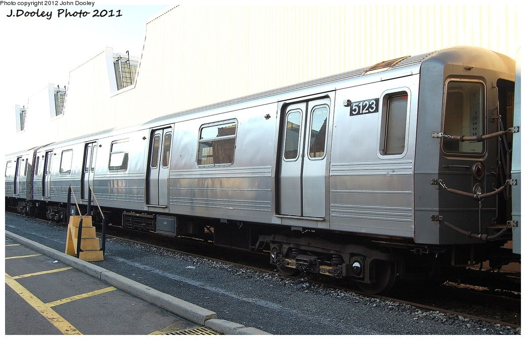 (316k, 1044x675)<br><b>Country:</b> United States<br><b>City:</b> New York<br><b>System:</b> New York City Transit<br><b>Location:</b> Coney Island Yard<br><b>Car:</b> R-68A (Kawasaki, 1988-1989)  5123 <br><b>Photo by:</b> John Dooley<br><b>Date:</b> 10/15/2011<br><b>Viewed (this week/total):</b> 0 / 518