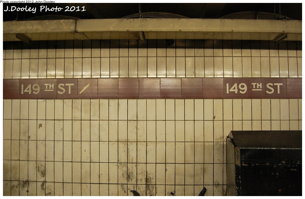 (313k, 1044x681)<br><b>Country:</b> United States<br><b>City:</b> New York<br><b>System:</b> New York City Transit<br><b>Line:</b> IRT White Plains Road Line<br><b>Location:</b> 149th Street/Grand Concourse (Mott Avenue) <br><b>Photo by:</b> John Dooley<br><b>Date:</b> 10/29/2011<br><b>Notes:</b> Platform extension tile.<br><b>Viewed (this week/total):</b> 4 / 1036