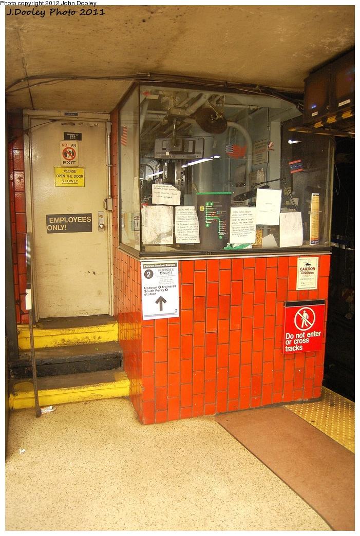 (372k, 701x1044)<br><b>Country:</b> United States<br><b>City:</b> New York<br><b>System:</b> New York City Transit<br><b>Line:</b> IRT East Side Line<br><b>Location:</b> Bowling Green <br><b>Photo by:</b> John Dooley<br><b>Date:</b> 10/28/2011<br><b>Notes:</b> Tower/crew room.<br><b>Viewed (this week/total):</b> 4 / 1048
