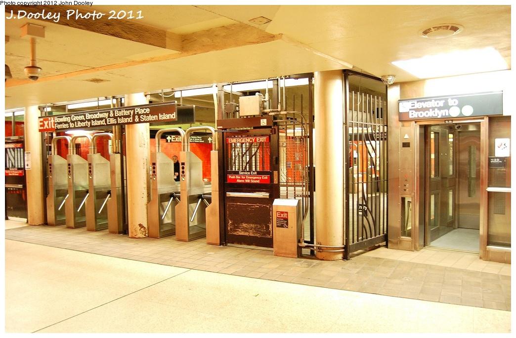 (329k, 1044x685)<br><b>Country:</b> United States<br><b>City:</b> New York<br><b>System:</b> New York City Transit<br><b>Line:</b> IRT East Side Line<br><b>Location:</b> Bowling Green <br><b>Photo by:</b> John Dooley<br><b>Date:</b> 10/28/2011<br><b>Notes:</b> Fare control in underpass.<br><b>Viewed (this week/total):</b> 1 / 1091