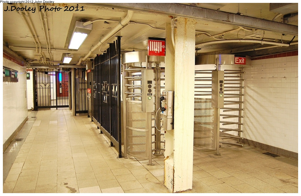 (362k, 1044x680)<br><b>Country:</b> United States<br><b>City:</b> New York<br><b>System:</b> New York City Transit<br><b>Line:</b> IRT East Side Line<br><b>Location:</b> Brooklyn Bridge/City Hall <br><b>Photo by:</b> John Dooley<br><b>Date:</b> 10/28/2011<br><b>Notes:</b> Fare control in underpass.<br><b>Viewed (this week/total):</b> 0 / 840