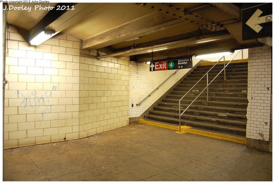 (357k, 1044x700)<br><b>Country:</b> United States<br><b>City:</b> New York<br><b>System:</b> New York City Transit<br><b>Line:</b> IRT White Plains Road Line<br><b>Location:</b> 149th Street/Grand Concourse (Mott Avenue) <br><b>Photo by:</b> John Dooley<br><b>Date:</b> 10/29/2011<br><b>Notes:</b> Stairs to #4 line.<br><b>Viewed (this week/total):</b> 6 / 1429
