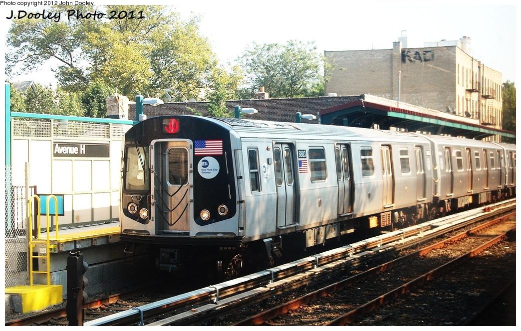 (396k, 1044x664)<br><b>Country:</b> United States<br><b>City:</b> New York<br><b>System:</b> New York City Transit<br><b>Line:</b> BMT Brighton Line<br><b>Location:</b> Avenue H <br><b>Route:</b> Q<br><b>Car:</b> R-160B (Kawasaki, 2005-2008)  8883 <br><b>Photo by:</b> John Dooley<br><b>Date:</b> 9/12/2011<br><b>Viewed (this week/total):</b> 0 / 880