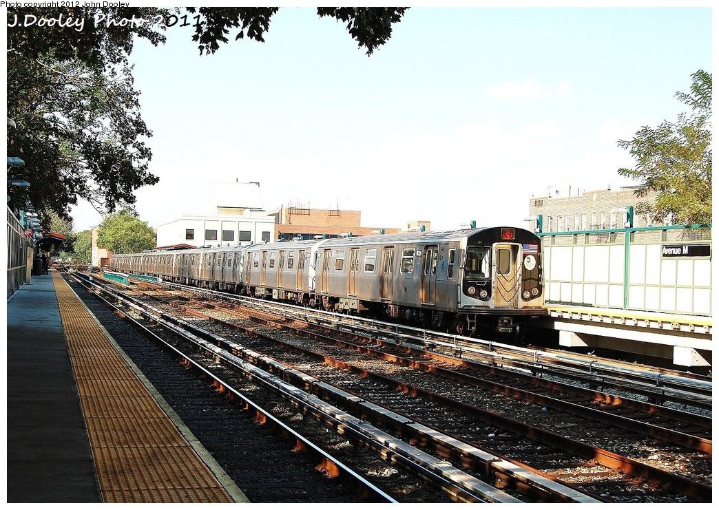 (437k, 1044x741)<br><b>Country:</b> United States<br><b>City:</b> New York<br><b>System:</b> New York City Transit<br><b>Line:</b> BMT Brighton Line<br><b>Location:</b> Avenue M <br><b>Route:</b> Q<br><b>Car:</b> R-160B (Option 1) (Kawasaki, 2008-2009)  9028 <br><b>Photo by:</b> John Dooley<br><b>Date:</b> 9/12/2011<br><b>Viewed (this week/total):</b> 1 / 822