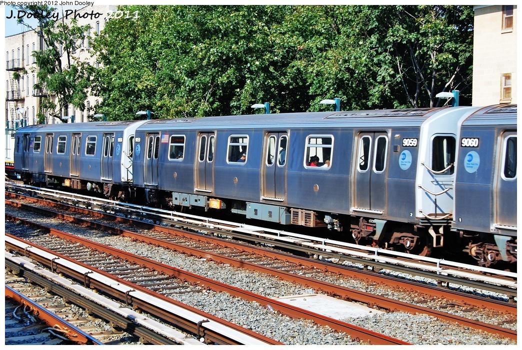 (531k, 1044x701)<br><b>Country:</b> United States<br><b>City:</b> New York<br><b>System:</b> New York City Transit<br><b>Line:</b> BMT Brighton Line<br><b>Location:</b> Avenue H <br><b>Route:</b> Q<br><b>Car:</b> R-160B (Option 1) (Kawasaki, 2008-2009)  9059 <br><b>Photo by:</b> John Dooley<br><b>Date:</b> 9/12/2011<br><b>Viewed (this week/total):</b> 1 / 853