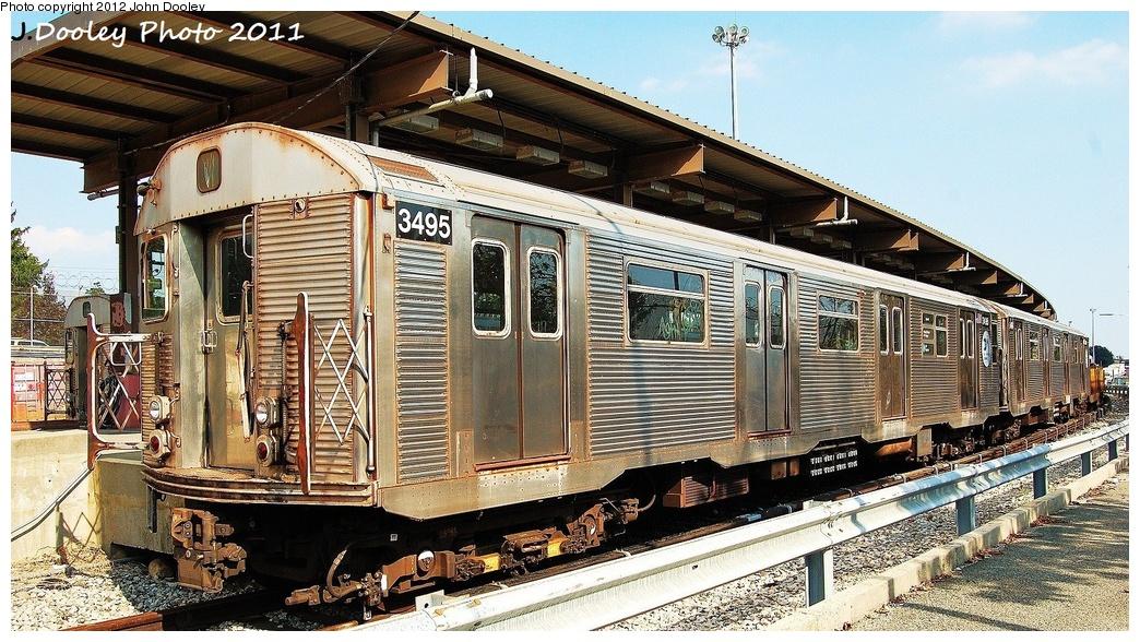 (391k, 1044x588)<br><b>Country:</b> United States<br><b>City:</b> New York<br><b>System:</b> New York City Transit<br><b>Location:</b> 36th Street Yard<br><b>Route:</b> Work Service<br><b>Car:</b> R-32 (Budd, 1964)  3495 <br><b>Photo by:</b> John Dooley<br><b>Date:</b> 9/13/2011<br><b>Viewed (this week/total):</b> 1 / 1038