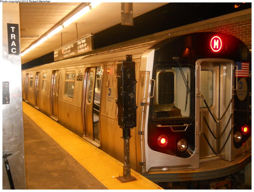 (354k, 1044x788)<br><b>Country:</b> United States<br><b>City:</b> New York<br><b>System:</b> New York City Transit<br><b>Line:</b> BMT Myrtle Avenue Line<br><b>Location:</b> Metropolitan Avenue <br><b>Route:</b> M<br><b>Car:</b> R-160A-1 (Alstom, 2005-2008, 4 car sets)  8345 <br><b>Photo by:</b> Robert Mencher<br><b>Date:</b> 10/8/2011<br><b>Viewed (this week/total):</b> 5 / 1208