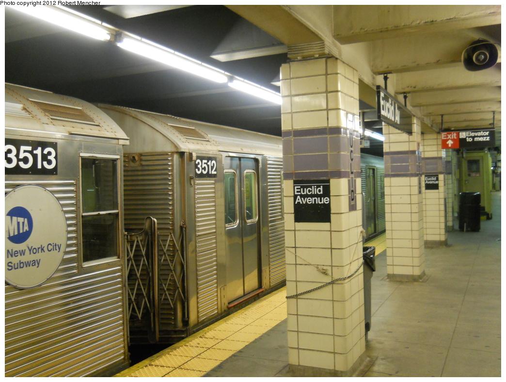 (378k, 1044x788)<br><b>Country:</b> United States<br><b>City:</b> New York<br><b>System:</b> New York City Transit<br><b>Line:</b> IND Fulton Street Line<br><b>Location:</b> Euclid Avenue <br><b>Route:</b> C<br><b>Car:</b> R-32 (Budd, 1964)  3512 <br><b>Photo by:</b> Robert Mencher<br><b>Date:</b> 10/9/2011<br><b>Viewed (this week/total):</b> 0 / 761