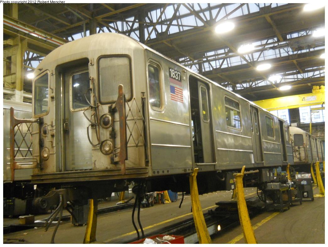 (388k, 1044x788)<br><b>Country:</b> United States<br><b>City:</b> New York<br><b>System:</b> New York City Transit<br><b>Location:</b> 207th Street Shop<br><b>Car:</b> R-62A (Bombardier, 1984-1987)  1837 <br><b>Photo by:</b> Robert Mencher<br><b>Date:</b> 2/11/2012<br><b>Viewed (this week/total):</b> 0 / 624