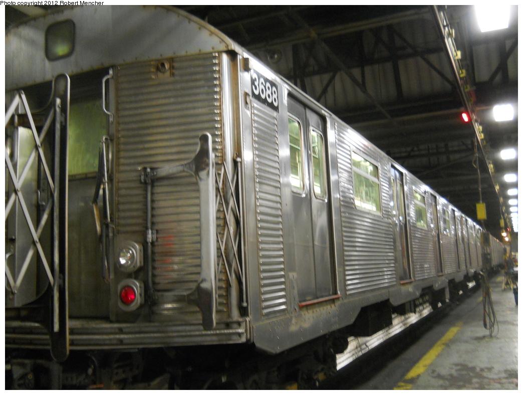 (343k, 1044x788)<br><b>Country:</b> United States<br><b>City:</b> New York<br><b>System:</b> New York City Transit<br><b>Location:</b> 207th Street Shop<br><b>Car:</b> R-32 (Budd, 1964)  3688 <br><b>Photo by:</b> Robert Mencher<br><b>Date:</b> 2/11/2012<br><b>Viewed (this week/total):</b> 1 / 610
