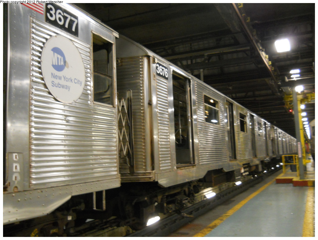(358k, 1044x788)<br><b>Country:</b> United States<br><b>City:</b> New York<br><b>System:</b> New York City Transit<br><b>Location:</b> 207th Street Shop<br><b>Car:</b> R-32 (Budd, 1964)  3676 <br><b>Photo by:</b> Robert Mencher<br><b>Date:</b> 2/11/2012<br><b>Viewed (this week/total):</b> 1 / 706