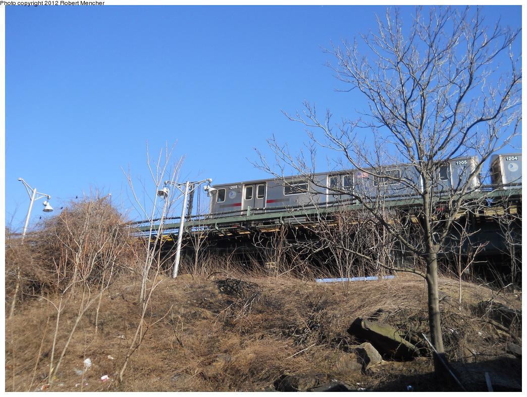 (506k, 1044x788)<br><b>Country:</b> United States<br><b>City:</b> New York<br><b>System:</b> New York City Transit<br><b>Line:</b> IRT Woodlawn Line<br><b>Location:</b> Bedford Park Boulevard <br><b>Route:</b> 4<br><b>Car:</b> R-142 (Option Order, Bombardier, 2002-2003)  1205 <br><b>Photo by:</b> Robert Mencher<br><b>Date:</b> 2/13/2012<br><b>Viewed (this week/total):</b> 0 / 1145