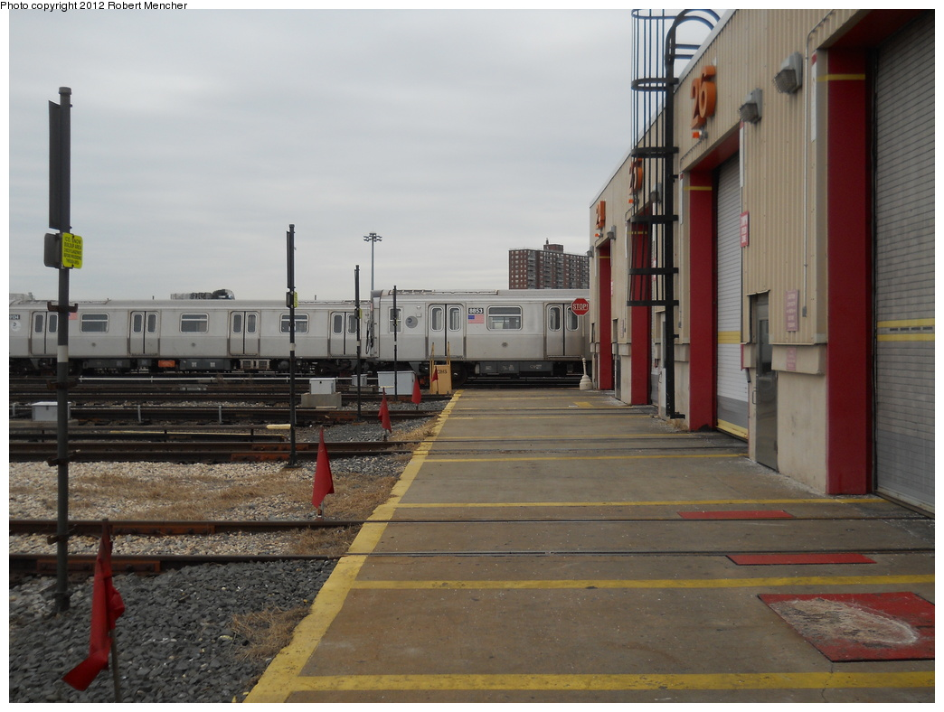 (334k, 1044x788)<br><b>Country:</b> United States<br><b>City:</b> New York<br><b>System:</b> New York City Transit<br><b>Location:</b> Coney Island Yard<br><b>Car:</b> R-160B (Kawasaki, 2005-2008)  8853 <br><b>Photo by:</b> Robert Mencher<br><b>Date:</b> 2/14/2012<br><b>Viewed (this week/total):</b> 2 / 662