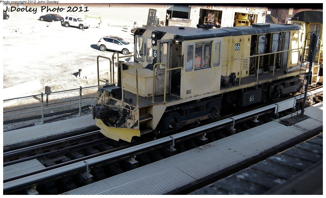 (365k, 1044x636)<br><b>Country:</b> United States<br><b>City:</b> New York<br><b>System:</b> New York City Transit<br><b>Location:</b> Coney Island Yard<br><b>Route:</b> Work Service<br><b>Car:</b> R-47 Locomotive  66 <br><b>Photo by:</b> John Dooley<br><b>Date:</b> 10/9/2011<br><b>Notes:</b> Avenue X yard leads.<br><b>Viewed (this week/total):</b> 0 / 360
