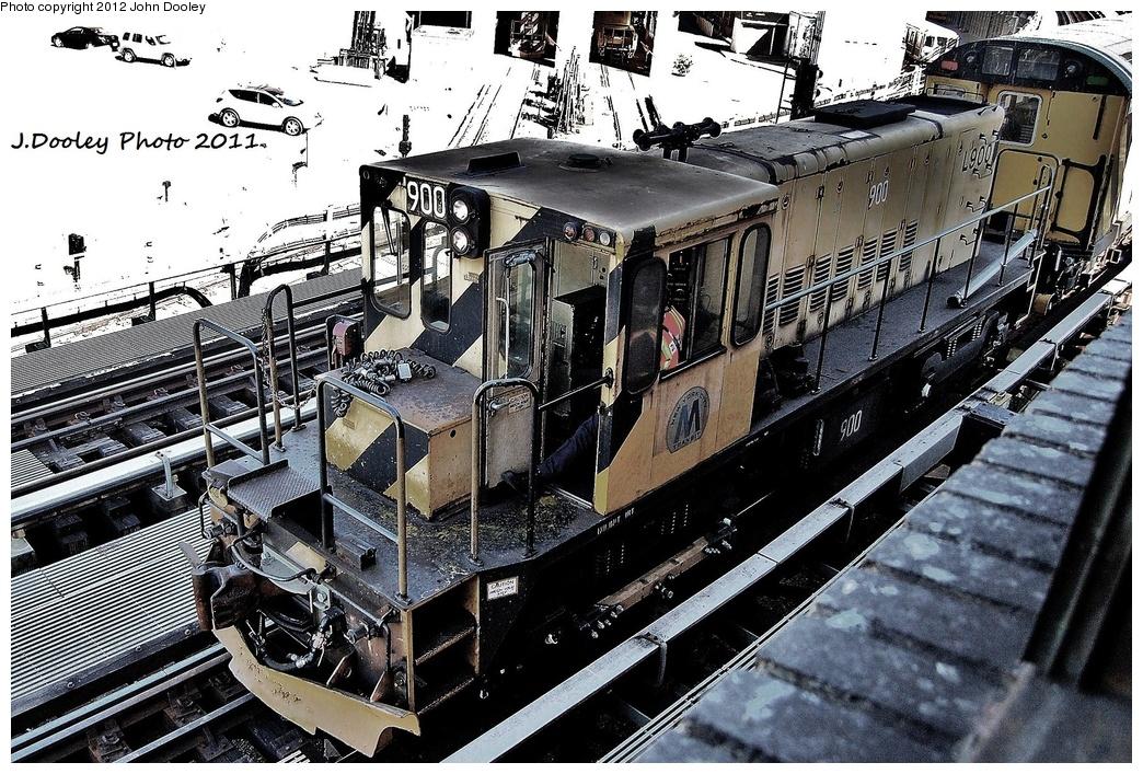 (445k, 1044x707)<br><b>Country:</b> United States<br><b>City:</b> New York<br><b>System:</b> New York City Transit<br><b>Location:</b> Coney Island Yard<br><b>Route:</b> Work Service<br><b>Car:</b> R-77 Locomotive  900 <br><b>Photo by:</b> John Dooley<br><b>Date:</b> 10/9/2011<br><b>Notes:</b> Avenue X yard leads.<br><b>Viewed (this week/total):</b> 0 / 471