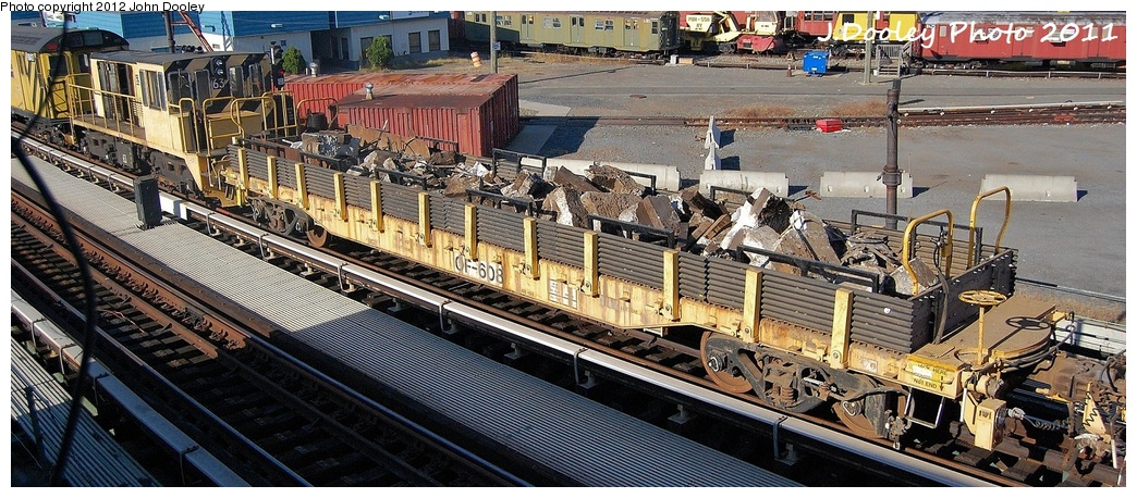 (333k, 1044x458)<br><b>Country:</b> United States<br><b>City:</b> New York<br><b>System:</b> New York City Transit<br><b>Location:</b> Coney Island Yard<br><b>Route:</b> Work Service<br><b>Car:</b> Flat Car 608 <br><b>Photo by:</b> John Dooley<br><b>Date:</b> 10/9/2011<br><b>Notes:</b> Avenue X yard leads.<br><b>Viewed (this week/total):</b> 0 / 652