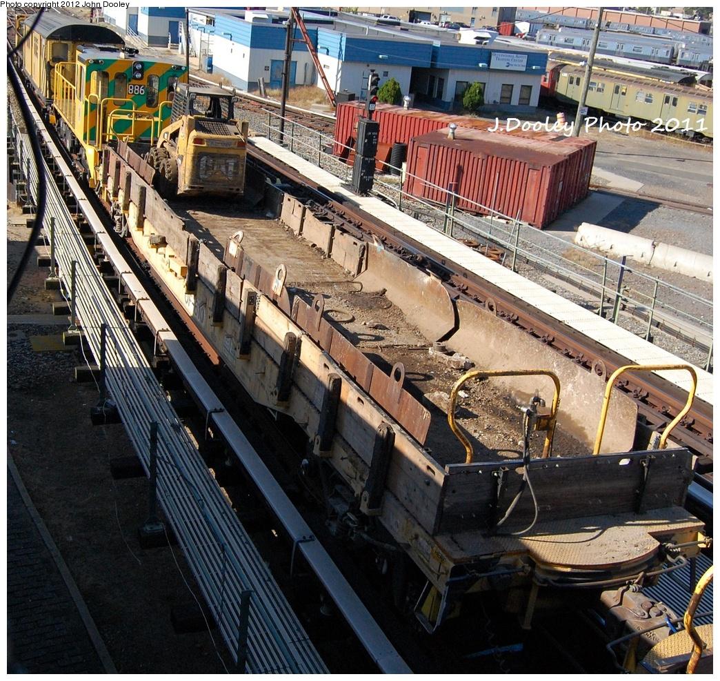 (553k, 1044x987)<br><b>Country:</b> United States<br><b>City:</b> New York<br><b>System:</b> New York City Transit<br><b>Location:</b> Coney Island Yard<br><b>Route:</b> Work Service<br><b>Car:</b> Flat Car 610 <br><b>Photo by:</b> John Dooley<br><b>Date:</b> 10/9/2011<br><b>Notes:</b> Avenue X yard leads.<br><b>Viewed (this week/total):</b> 0 / 548
