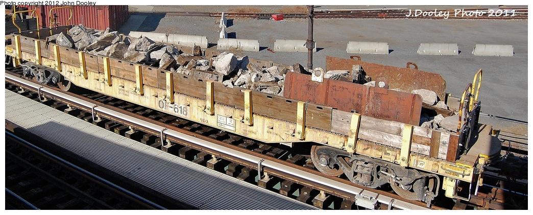 (310k, 1044x421)<br><b>Country:</b> United States<br><b>City:</b> New York<br><b>System:</b> New York City Transit<br><b>Location:</b> Coney Island Yard<br><b>Route:</b> Work Service<br><b>Car:</b> Flat Car 618 <br><b>Photo by:</b> John Dooley<br><b>Date:</b> 10/9/2011<br><b>Notes:</b> Avenue X yard leads.<br><b>Viewed (this week/total):</b> 0 / 582