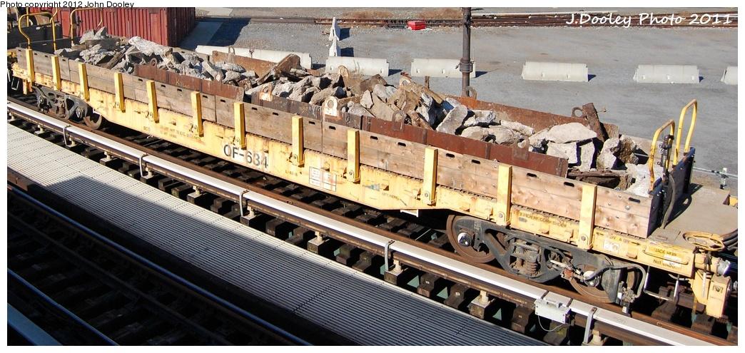 (318k, 1044x495)<br><b>Country:</b> United States<br><b>City:</b> New York<br><b>System:</b> New York City Transit<br><b>Location:</b> Coney Island Yard<br><b>Route:</b> Work Service<br><b>Car:</b> Flat Car 634 <br><b>Photo by:</b> John Dooley<br><b>Date:</b> 10/9/2011<br><b>Notes:</b> Avenue X yard leads.<br><b>Viewed (this week/total):</b> 1 / 614