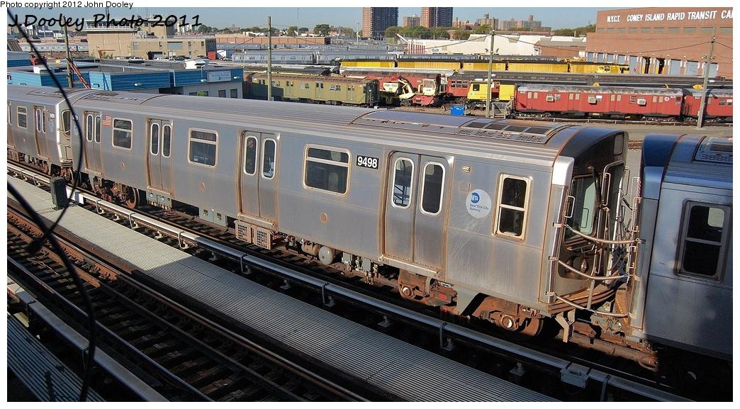 (371k, 1044x577)<br><b>Country:</b> United States<br><b>City:</b> New York<br><b>System:</b> New York City Transit<br><b>Location:</b> Coney Island Yard<br><b>Car:</b> R-160A (Option 1) (Alstom, 2008-2009, 5 car sets)  9498 <br><b>Photo by:</b> John Dooley<br><b>Date:</b> 10/9/2011<br><b>Notes:</b> Avenue X yard leads.<br><b>Viewed (this week/total):</b> 1 / 658