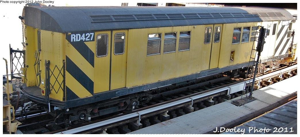 (285k, 1044x476)<br><b>Country:</b> United States<br><b>City:</b> New York<br><b>System:</b> New York City Transit<br><b>Location:</b> Coney Island Yard<br><b>Route:</b> Work Service<br><b>Car:</b> R-161 Rider Car (ex-R-33)  RD427 <br><b>Photo by:</b> John Dooley<br><b>Date:</b> 10/9/2011<br><b>Notes:</b> Avenue X yard leads.<br><b>Viewed (this week/total):</b> 0 / 521