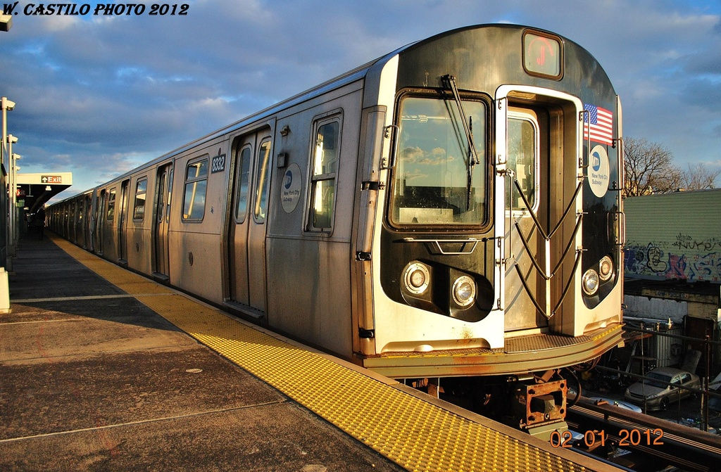(381k, 1024x671)<br><b>Country:</b> United States<br><b>City:</b> New York<br><b>System:</b> New York City Transit<br><b>Line:</b> BMT Nassau Street/Jamaica Line<br><b>Location:</b> Van Siclen Avenue <br><b>Route:</b> J<br><b>Car:</b> R-160A-1 (Alstom, 2005-2008, 4 car sets)  8332 <br><b>Photo by:</b> Wilfredo Castillo<br><b>Date:</b> 1/2/2012<br><b>Viewed (this week/total):</b> 0 / 966