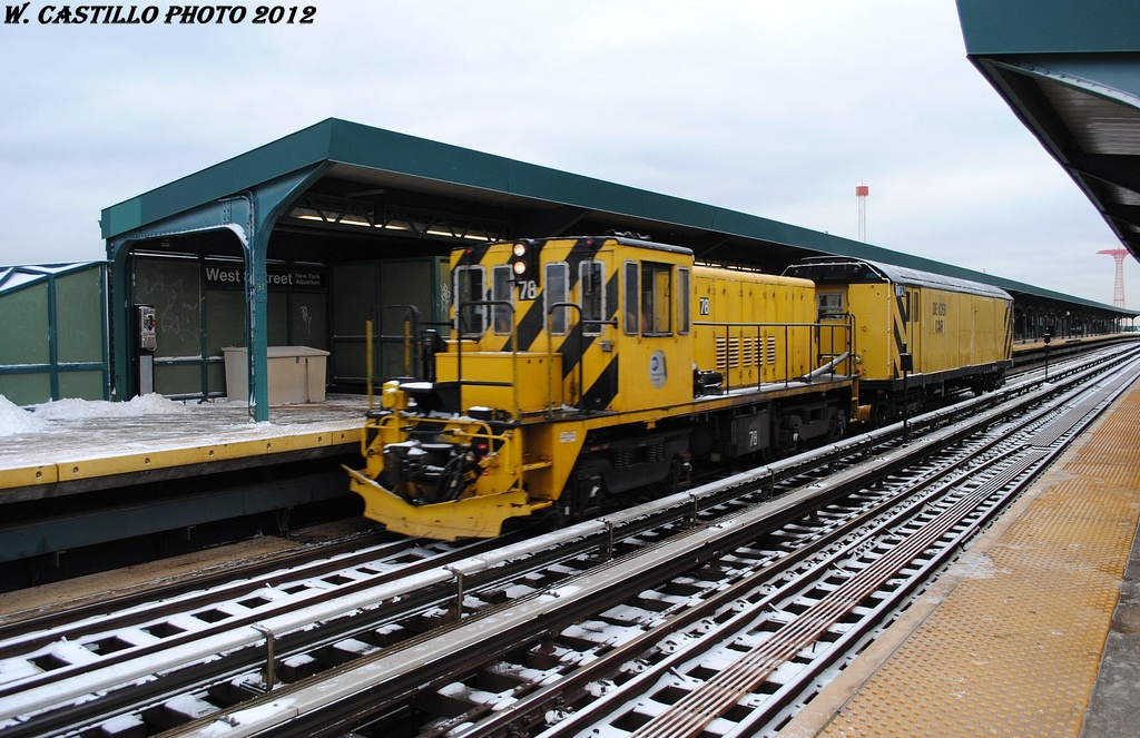 (338k, 1024x663)<br><b>Country:</b> United States<br><b>City:</b> New York<br><b>System:</b> New York City Transit<br><b>Line:</b> BMT Brighton Line<br><b>Location:</b> West 8th Street <br><b>Route:</b> Work Service<br><b>Car:</b> R-52 Locomotive  78 <br><b>Photo by:</b> Wilfredo Castillo<br><b>Date:</b> 1/21/2012<br><b>Notes:</b> De-icer train.<br><b>Viewed (this week/total):</b> 0 / 917