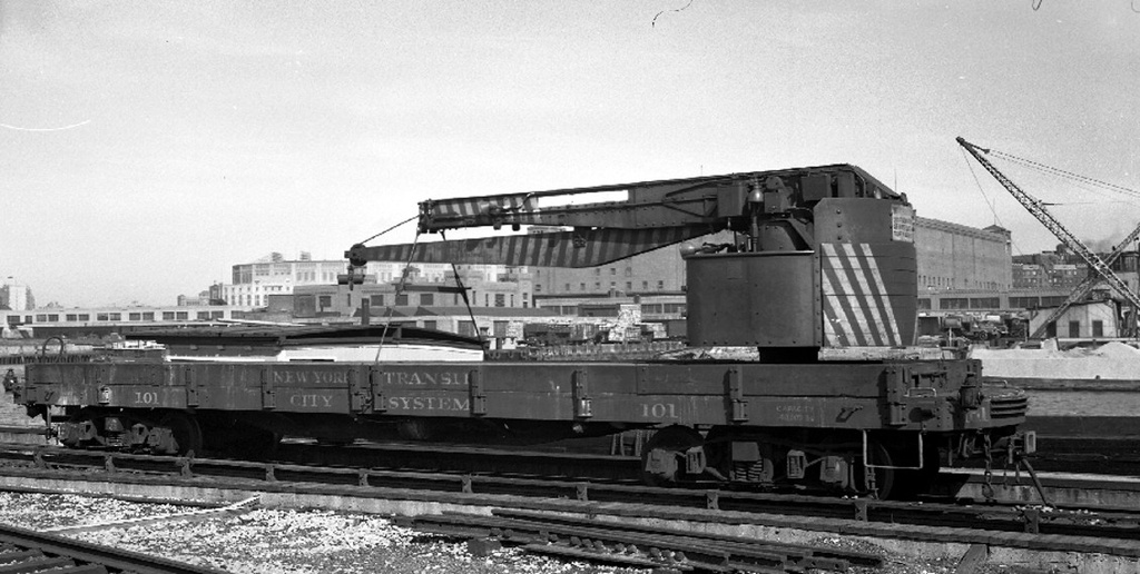 (202k, 1024x516)<br><b>Country:</b> United States<br><b>City:</b> New York<br><b>System:</b> New York City Transit<br><b>Location:</b> 207th Street Yard<br><b>Car:</b> Crane Car 101 <br><b>Collection of:</b> Frank Pfuhler<br><b>Notes:</b> Crane car, circa 1949<br><b>Viewed (this week/total):</b> 2 / 682
