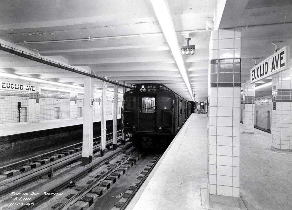 (277k, 1024x739)<br><b>Country:</b> United States<br><b>City:</b> New York<br><b>System:</b> New York City Transit<br><b>Line:</b> IND Fulton Street Line<br><b>Location:</b> Euclid Avenue <br><b>Route:</b> A<br><b>Car:</b> R-1/R-9 Series   <br><b>Collection of:</b> Frank Pfuhler<br><b>Date:</b> 11/23/1948<br><b>Viewed (this week/total):</b> 0 / 2651