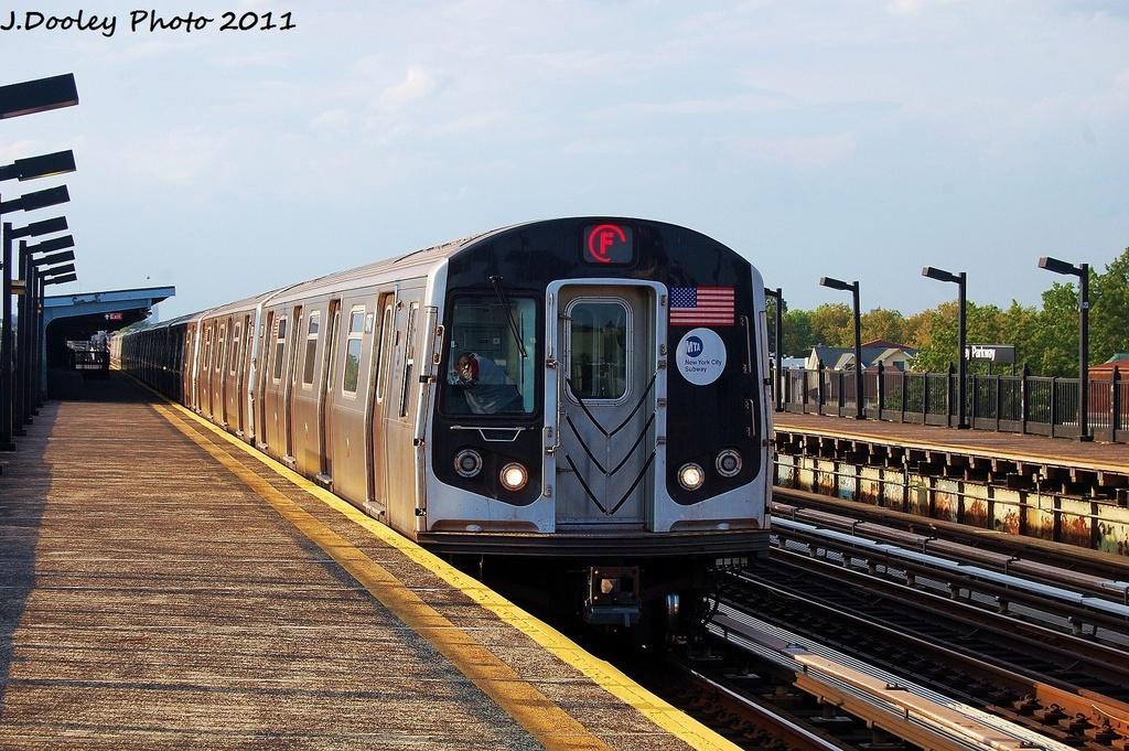 (372k, 1024x681)<br><b>Country:</b> United States<br><b>City:</b> New York<br><b>System:</b> New York City Transit<br><b>Line:</b> BMT Culver Line<br><b>Location:</b> Bay Parkway (22nd Avenue) <br><b>Route:</b> F<br><b>Car:</b> R-160A (Option 2) (Alstom, 2009, 5-car sets)  9787 <br><b>Photo by:</b> John Dooley<br><b>Date:</b> 7/26/2011<br><b>Viewed (this week/total):</b> 0 / 751