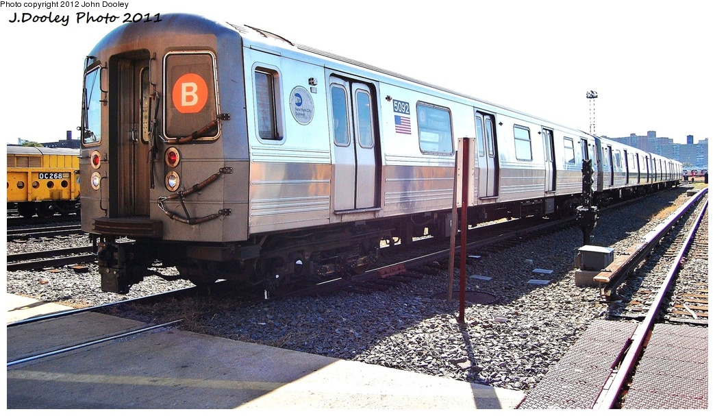 (348k, 1044x607)<br><b>Country:</b> United States<br><b>City:</b> New York<br><b>System:</b> New York City Transit<br><b>Location:</b> Coney Island Yard<br><b>Car:</b> R-68A (Kawasaki, 1988-1989)  5092 <br><b>Photo by:</b> John Dooley<br><b>Date:</b> 10/9/2011<br><b>Viewed (this week/total):</b> 4 / 886