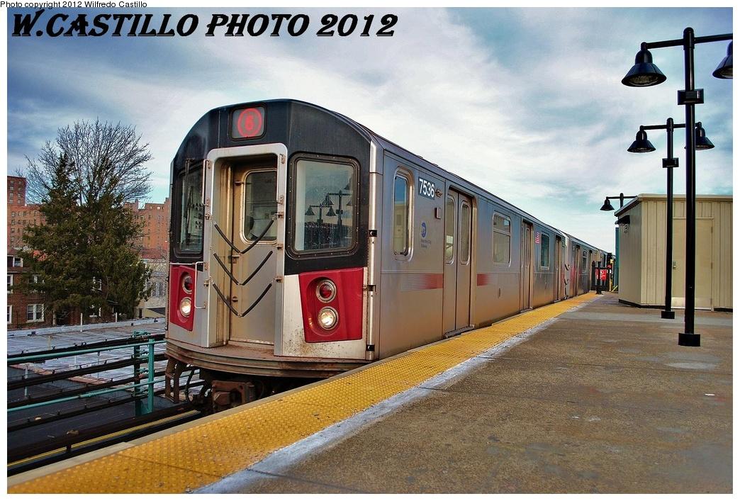 (365k, 1044x707)<br><b>Country:</b> United States<br><b>City:</b> New York<br><b>System:</b> New York City Transit<br><b>Line:</b> IRT Pelham Line<br><b>Location:</b> East 177th Street/Parkchester <br><b>Route:</b> 6<br><b>Car:</b> R-142A (Primary Order, Kawasaki, 1999-2002)  7536 <br><b>Photo by:</b> Wilfredo Castillo<br><b>Date:</b> 2/22/2012<br><b>Viewed (this week/total):</b> 5 / 1182