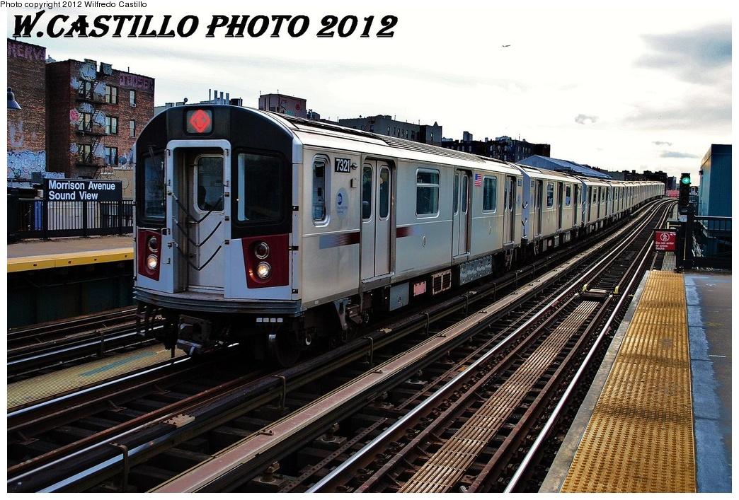 (374k, 1044x707)<br><b>Country:</b> United States<br><b>City:</b> New York<br><b>System:</b> New York City Transit<br><b>Line:</b> IRT Pelham Line<br><b>Location:</b> Morrison/Soundview Aves. <br><b>Route:</b> 6<br><b>Car:</b> R-142A (Primary Order, Kawasaki, 1999-2002)  7321 <br><b>Photo by:</b> Wilfredo Castillo<br><b>Date:</b> 2/22/2012<br><b>Viewed (this week/total):</b> 5 / 1173