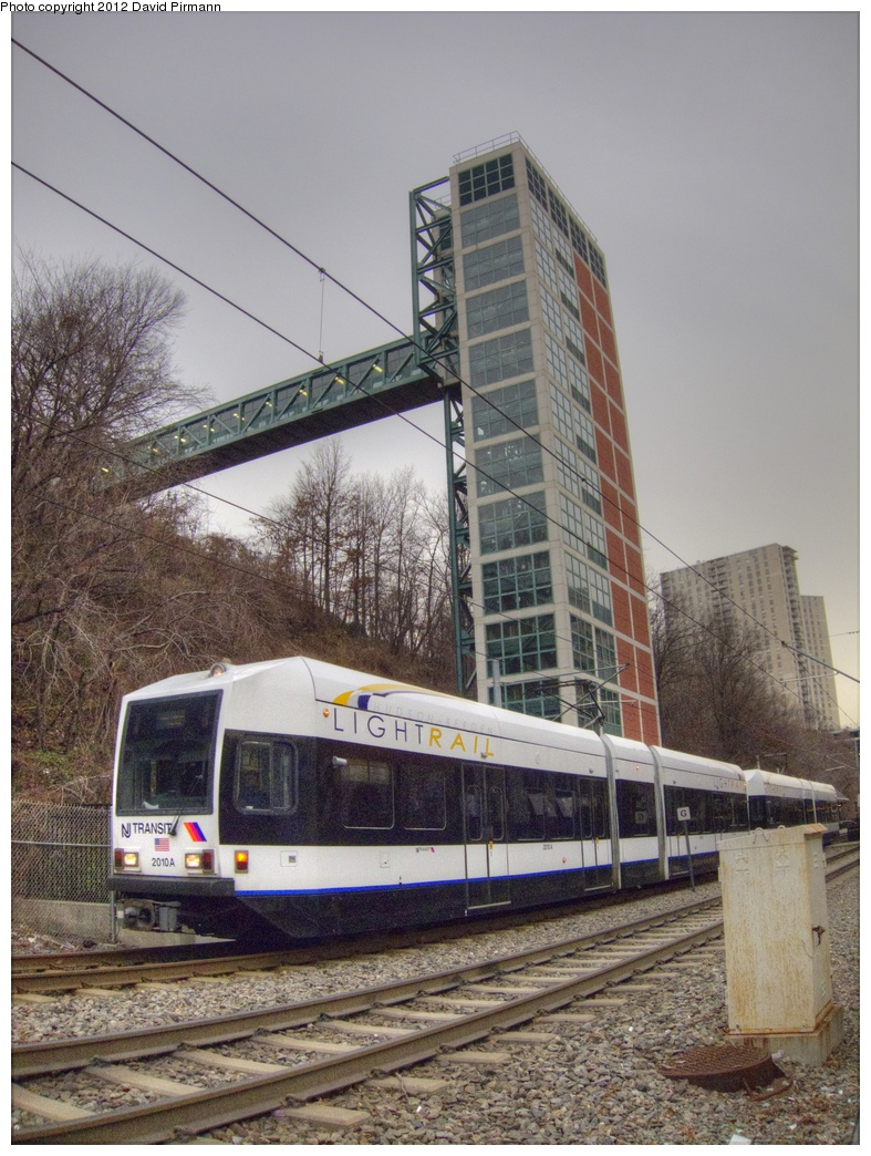 (332k, 787x1044)<br><b>Country:</b> United States<br><b>City:</b> Hoboken, NJ<br><b>System:</b> Hudson Bergen Light Rail<br><b>Location:</b> 9th Street <br><b>Car:</b> NJT-HBLR LRV (Kinki-Sharyo, 1998-99)  2010 <br><b>Photo by:</b> David Pirmann<br><b>Date:</b> 2/8/2012<br><b>Viewed (this week/total):</b> 0 / 680