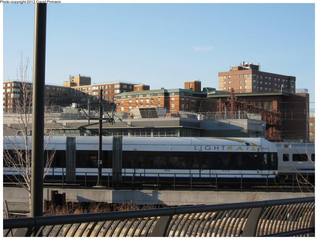 (322k, 1044x788)<br><b>Country:</b> United States<br><b>City:</b> Hoboken, NJ<br><b>System:</b> Hudson Bergen Light Rail<br><b>Location:</b> Hoboken <br><b>Car:</b> NJT-HBLR LRV (Kinki-Sharyo, 1998-99)  2014 <br><b>Photo by:</b> David Pirmann<br><b>Date:</b> 2/28/2012<br><b>Viewed (this week/total):</b> 2 / 895