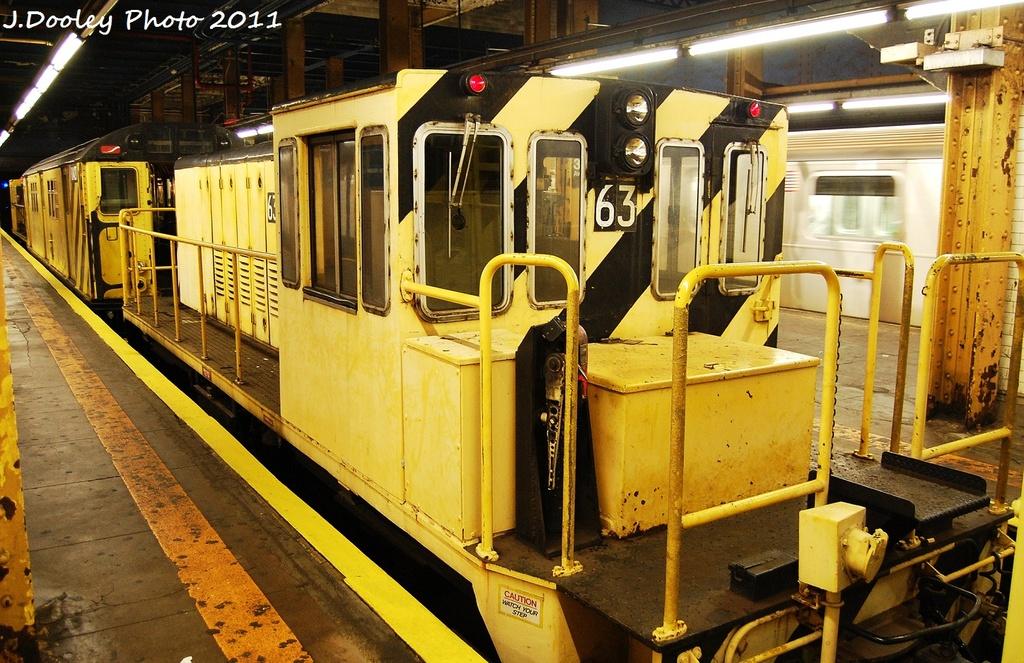 (388k, 1024x663)<br><b>Country:</b> United States<br><b>City:</b> New York<br><b>System:</b> New York City Transit<br><b>Line:</b> IRT Pelham Line<br><b>Location:</b> 3rd Avenue/138th Street <br><b>Route:</b> Work Service<br><b>Car:</b> R-47 Locomotive  63 <br><b>Photo by:</b> John Dooley<br><b>Date:</b> 9/22/2011<br><b>Viewed (this week/total):</b> 0 / 921