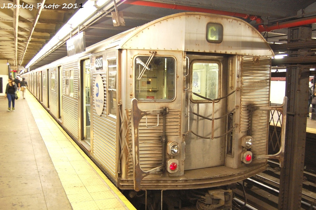 (374k, 1024x681)<br><b>Country:</b> United States<br><b>City:</b> New York<br><b>System:</b> New York City Transit<br><b>Line:</b> IND 8th Avenue Line<br><b>Location:</b> 168th Street <br><b>Route:</b> C<br><b>Car:</b> R-32 (Budd, 1964)  3887 <br><b>Photo by:</b> John Dooley<br><b>Date:</b> 9/22/2011<br><b>Viewed (this week/total):</b> 0 / 811