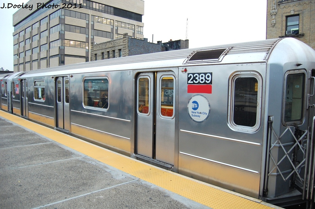 (330k, 1024x681)<br><b>Country:</b> United States<br><b>City:</b> New York<br><b>System:</b> New York City Transit<br><b>Line:</b> IRT West Side Line<br><b>Location:</b> 215th Street <br><b>Route:</b> 1<br><b>Car:</b> R-62A (Bombardier, 1984-1987)  2389 <br><b>Photo by:</b> John Dooley<br><b>Date:</b> 9/22/2011<br><b>Viewed (this week/total):</b> 2 / 878