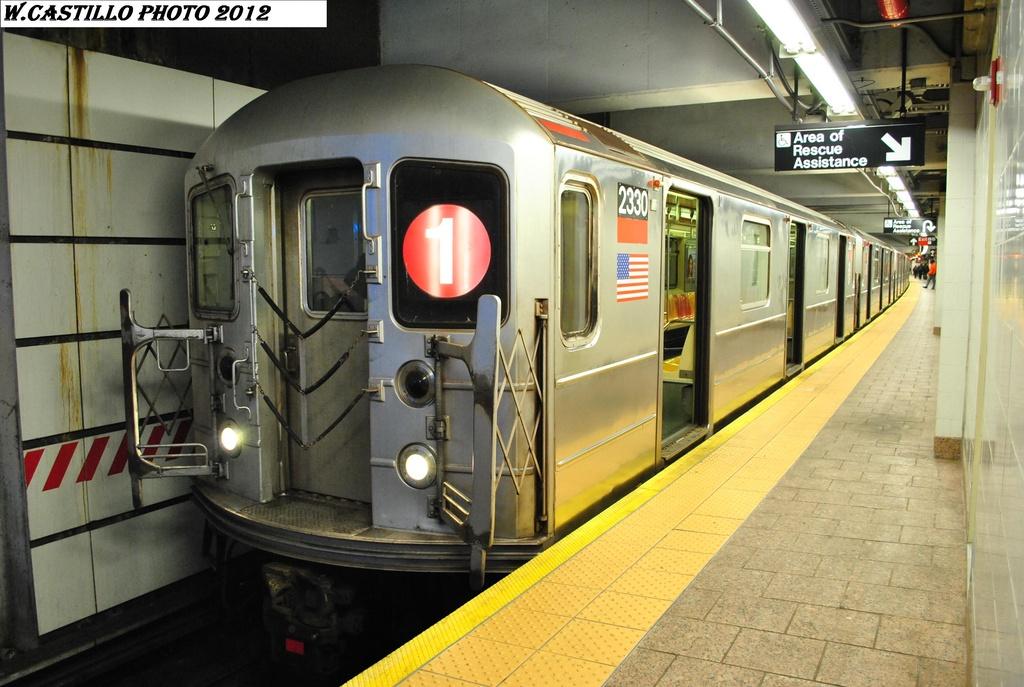 (303k, 1024x687)<br><b>Country:</b> United States<br><b>City:</b> New York<br><b>System:</b> New York City Transit<br><b>Line:</b> IRT West Side Line<br><b>Location:</b> South Ferry (New Station) <br><b>Route:</b> 1<br><b>Car:</b> R-62A (Bombardier, 1984-1987)  2330 <br><b>Photo by:</b> Wilfredo Castillo<br><b>Date:</b> 2/25/2012<br><b>Viewed (this week/total):</b> 0 / 1094