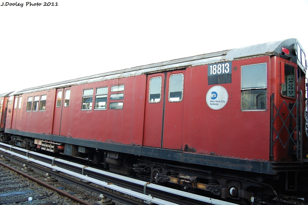 (273k, 1024x681)<br><b>Country:</b> United States<br><b>City:</b> New York<br><b>System:</b> New York City Transit<br><b>Location:</b> 239th Street Yard<br><b>Car:</b> R-33 Main Line (St. Louis, 1962-63) 18813 <br><b>Photo by:</b> John Dooley<br><b>Date:</b> 12/8/2011<br><b>Viewed (this week/total):</b> 0 / 1034
