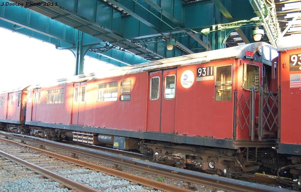 (360k, 1024x654)<br><b>Country:</b> United States<br><b>City:</b> New York<br><b>System:</b> New York City Transit<br><b>Location:</b> 239th Street Yard<br><b>Car:</b> R-33 World's Fair (St. Louis, 1963-64) 9311 <br><b>Photo by:</b> John Dooley<br><b>Date:</b> 12/8/2011<br><b>Viewed (this week/total):</b> 1 / 965